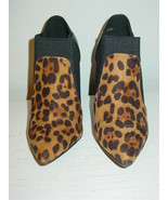Anne MIchelle Brown Leopard Cheetah Ankle Boots Booties Black Elastic-8.... - $24.70