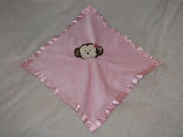 Security Blanket Nursery Rhyme Pink Monkey /SATIN Rattle Lovie Baby Essentials - $29.69
