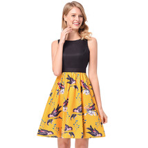 AOVEI Yellow Birds Print Hit Color Vest 50s A Line Sweet Pleated Swing Dress - $24.99