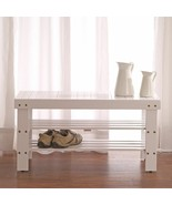 NEW White Wooden Shoe Bench Solid Wood Organizer Storage Rack Entryway S... - $73.16
