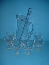 Bjorkshult Sweden Glass Pitcher & Stirrer + 6 Christian Wagner Glasses - $69.99