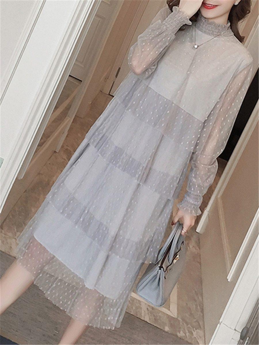 Maternity Dress Long Sleeve Fashionable Layered Dress image 2