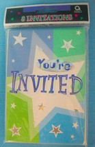 You're Invited Invitations Birthday Shimmer Bright Color Stars Design Am... - $8.95