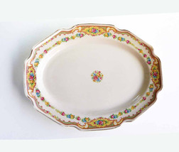 Oval Orleans Shaped Serving Platter Cottage Chic Rose Cream Scalloped Re... - $26.00