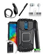 LG Q7 / Q7 Plus Black Jacket Hybrid Dual Layer Metal Plate Magnetic Case... - $13.99