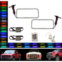 08-10 Ford F-250 Multi-Color Changing LED RGB Halo Upper Headlight Rings Pair IR - $99.95