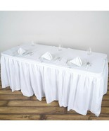 """Pack of 6 x Polyester Pleated Table Skirt White 14ft (172"""") Event Weddin... - $69.25"""