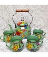 MacKenzie Childs Green Flower Market Enamelware 2 Qts Tea Kettle with 4 Mugs - $474.95