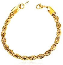3mm 18K Gold Plated Twisted Rope Chain Bracelet - £22.11 GBP