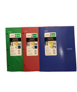 (3) Five Star 2 Pocket Poly Folders, Green, Red, Blue Stay Put Tabs - $4.97