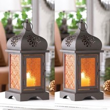 Set 2 amber Glass Moroccan Lantern Candleholder Wedding Centerpieces Set - $21.63