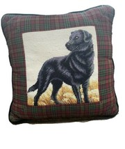 Handmade Needlepoint Dog Black Lab Labrador Pillow Plaid - £30.51 GBP