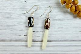 Minimal African Tribal Bone Dangle Earrings, Black and White Natural Ear... - $8.59