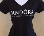 PANDORA JEWELRY WOMEN'S SHIRT LIMITED EDITION BLACK WHITE CROWN V NECK COTTON