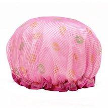 Stylish Design Waterproof Double Layer Shower Cap Spa Bathing Caps, Rose image 2