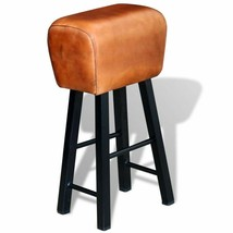 vidaXL Iron Bar Stool Real Leather Seat Restaurant Hallway Dining Living... - $60.99