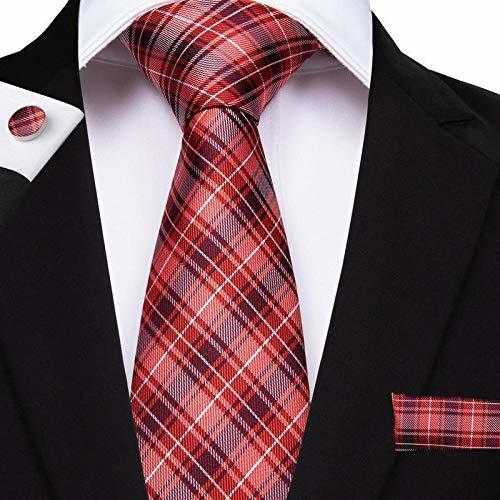 "Primary image for Classic Extra Long Mens Tie Necktie Hanky Silk N-7515 (8.5""x160"") Red Color Tkga"