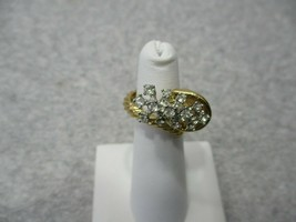 Vintage Cornucopia Gold Tone Clear Rhinestone Ring Adjustable Size - $9.99