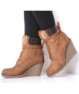 Faux Leather Wedge Boots Ankle Sizes : 3, 4, 5, 6, 7, 8 Brand NEW - $19.82