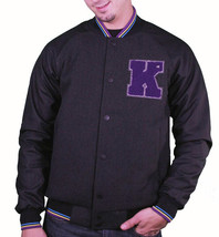 KR3W Breakdown Heather Charcoal Gray Varsity Letterman Wool Jacket Terry Kennedy