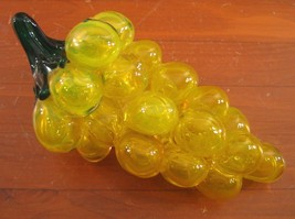 Glass Grape Cluster Hand Blown Table Decor Lemon Yellow Chartreuse Green - $96.57