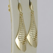 SOLID 18K YELLOW GOLD PENDANT EARRINGS FINELY WORKED DROPS DROP, MADE IN ITALY image 2