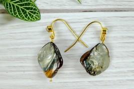 Elegant Natural Shell Dangle Earrings, Dainty Abalone Nugget Shell Earrings - $6.59