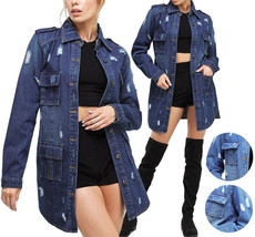Women's Distressed Denim Cotton Button Up Long Military Utility Jean Jacket