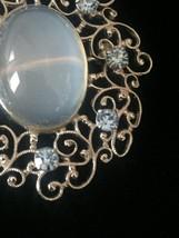 Vintage 50s Van Dell Opalite/Rhinestone Oval Brooch/pendant and Earrings Set image 4