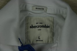 Abercrombie Kids Large Moose  Long Sleeve White Collared Muscle Shirt Sz L - $6.04