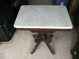 VINTAGE MARBLE TOP TABLE 26X18X29 - $197.01