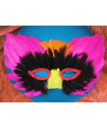 Feather Mask Chartreuse Black Red Orange and Yellow Halloween Costume   - $5.95