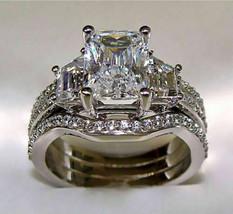 4.90ct Emerald cut Engagement Diamond Ring 2 Wedding Band Solid 14k whit... - $5.462,15 MXN