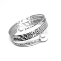 18K WHITE GOLD MAGICWIRE BAND RING, ELASTIC WORKED MULTI WIRES, PEARLS, SNAKE image 2