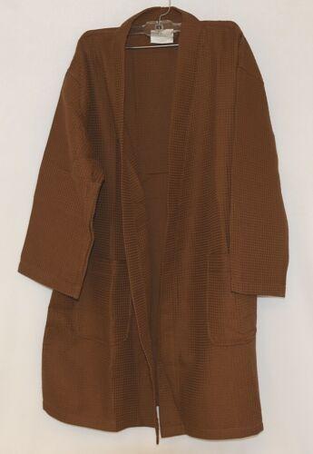 Mirko Thigh Length Waffle Weave Kimono Robe One Size Chocolate Brown