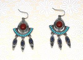 Women New Tribal Aqua Brown Stone Pewter Spike Dangle Pierced Earrings - ₹1,295.56 INR