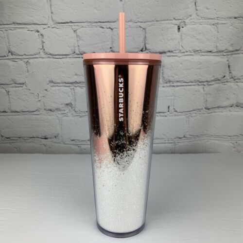 Starbucks Holiday 2019 Tumbler Cascading Snow Glitter Rose Gold Coffee Cup NEW