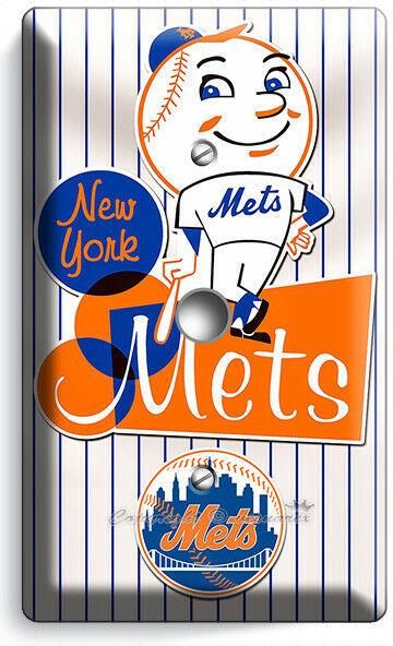 RETRO MR MET NEW YORK METS BASEBALL TEAM LIGHT DIMMER CABLE PLATE ROOM ART DECOR
