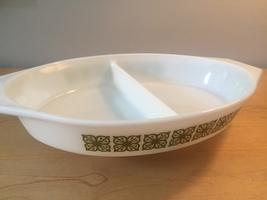 Vintage 60s Pyrex 1.5qt milk glass divided dish with square flower design image 3