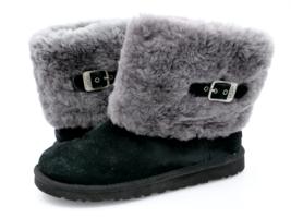 Ugg Australia Girls 6 Black Ellee 1001672 Pull On Sheepskin Cuff Winter Boots - $33.99