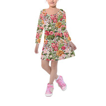 Bright Vintage Flowers Kids Velvet Winter Dress - $46.99+