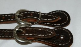 Unbranded Dark Brown adult Overlay Spur Straps Silver Colored Buckle 1 pair image 2