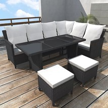 Rattan Corner Sofa Dining Set Patio Table Stools Garden All Weather Blac... - €571,15 EUR