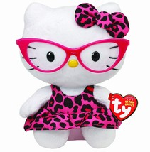 Ty Beanie Baby Hello Kitty Plush -Pink Leopard Nerd with Glasses - $15.20