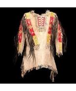 New Men Native American Buckskin Beige Leather Beaded Powwow War Shirt WSZ44 - $299.00