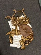 Syroco LARGE Vtg Mid Century 1971 Gold Wall Art Musical Theme 7236 holly... - $59.99