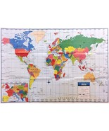 WORLD WALL MAP Large Poster 40x28 Learn Geography History Continents Cou... - $6.95