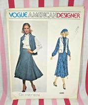 1970's Vogue American Designer #2099 Geoffrey Beene Skirt Vest Blouse & Scarf - $10.00
