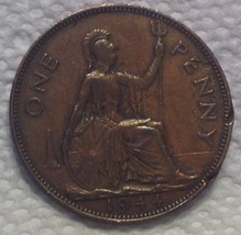 1944 Great Britain One Penny Collector Coin Vintage - $3.96