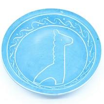 Vaneal Group Hand Carved Kisii Soapstone Blue Giraffe Trinket Bowl Dish Kenya